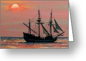 "\""pirate Ship\\\"" Greeting Cards - Caribbean Pirate Ship Greeting Card by Susan DeLain"