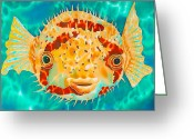 Silk Art Greeting Cards - Caribbean Puffer Greeting Card by Daniel Jean-Baptiste