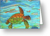 Fish Tapestries - Textiles Greeting Cards - Caribbean Sea Turtle  Greeting Card by Kelly     ZumBerge