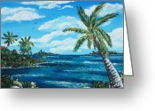 Clouds Drawings Greeting Cards - Caribbean Shore Greeting Card by Anastasiya Malakhova