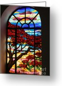 Cities Glass Art Greeting Cards - Caribbean Stained Glass  Greeting Card by Alice Terrill