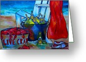 Beer Greeting Cards - Caribe and Crab Greeting Card by Patti Schermerhorn
