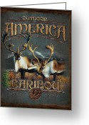 Antlers Greeting Cards - Caribou Greeting Card by JQ Licensing