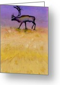 Purples Tapestries - Textiles Greeting Cards - Caribou on the Tundra 2 Greeting Card by Carolyn Doe
