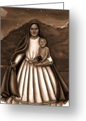 Christ Child Greeting Cards - Caridad del Cobre in Black and White Greeting Card by Carmen Cordova