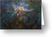 Carina Nebula Greeting Cards - Carina Nebula Star-forming Pillars Greeting Card by Stocktrek Images