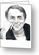 Pencil Drawing Drawings Greeting Cards - Carl Sagan Greeting Card by Murphy Elliott