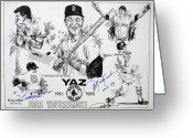Hall Drawings Greeting Cards - Carl Yastrzemski Retirement Tribute Newspaper Poster Greeting Card by Dave Olsen