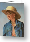 Denim Jacket Greeting Cards - Carla Greeting Card by Peter Worsley