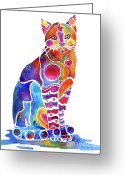 Feline Painting Greeting Cards - Carley Cat Greeting Card by Jo Lynch