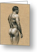 Charcoal Greeting Cards - Carlos Greeting Card by Chris  Lopez