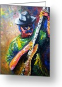 Color Image Painting Greeting Cards - Carlos Santana Greeting Card by Dica Adrian