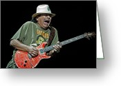 Live Music Greeting Cards - Carlos Santana on Guitar 4 Greeting Card by The  Vault
