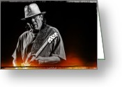 Live Music Greeting Cards - Carlos Santana on Guitar 5 Greeting Card by The  Vault