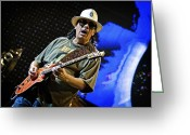 Celebrities Greeting Cards - Carlos Santana on Guitar 6 Greeting Card by The  Vault