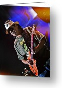 Celebrities Greeting Cards - Carlos Santana on Guitar 7 Greeting Card by The  Vault