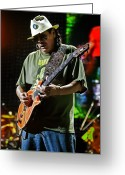 Celebrities Greeting Cards - Carlos Santana on Guitar 8 Greeting Card by The  Vault