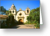 Religious Artist Digital Art Greeting Cards - Carmel Mission - California Greeting Card by Peter Art Prints Posters Gallery