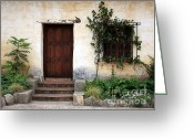Stucco Walls Greeting Cards - Carmel Mission Door Greeting Card by Carol Groenen