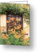 Orange And Green Greeting Cards - Carmel Mission Window Greeting Card by Carol Groenen