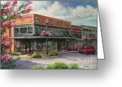 Store Fronts Greeting Cards - Carmens Corner Greeting Card by Virginia Potter