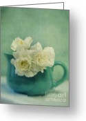 Flowery Greeting Cards - Carnations In A Jar Greeting Card by Priska Wettstein