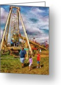 Amusement Park Greeting Cards - Carnival - A long day of fun Greeting Card by Mike Savad