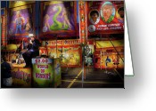 Games Photo Greeting Cards - Carnival - Strange Oddities  Greeting Card by Mike Savad