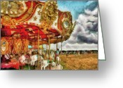 Kid Photo Greeting Cards - Carnival - The Merry-go-round Greeting Card by Mike Savad