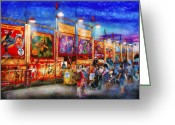 Evening Scenes Photo Greeting Cards - Carnival - World of Wonders Greeting Card by Mike Savad