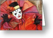 Laughing Greeting Cards - Carnival Clown Greeting Card by Patty Vicknair