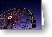 Christmas Lights Greeting Cards - Carnival Ferris Wheel Against Starry Night Sky Greeting Card by Heather Cate Photography