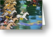 Jockeys Greeting Cards - Carnival horse race game Greeting Card by Garry Gay