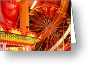 Ferris Wheel Greeting Cards - Carnival lights  Greeting Card by Garry Gay