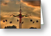 Renaissance Center Greeting Cards - Carnival Ride Greeting Card by Nicholas  Grunas