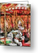 Rides Greeting Cards - Carnival - The Carousel - Painted Greeting Card by Mike Savad