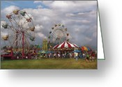 Round Greeting Cards - Carnival - Traveling Carnival Greeting Card by Mike Savad