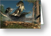 Theropod Greeting Cards - Carnotaurus Fight Greeting Card by Daniel Eskridge
