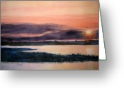 South Carolina Beach Painting Greeting Cards - Carolina Sunset Greeting Card by Shirley Braithwaite Hunt
