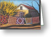 Landscape Painter Greeting Cards - Carolines Quilts Greeting Card by Gina Grundemann