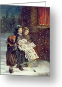 Winter Painting Greeting Cards - Carols for Sale  Greeting Card by Augustus Edward Mulready