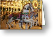 Carosel Greeting Cards - Carosel Horse Greeting Card by Anita Burgermeister
