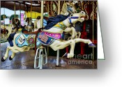 Amusement Ride Greeting Cards - Carousel - Horse - Jumping Greeting Card by Paul Ward