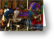 Fairgrounds Greeting Cards - Carousel Beauties Going Away Greeting Card by Bob Christopher