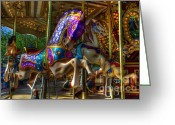 Fairgrounds Greeting Cards - Carousel Beauties Ready To Ride Greeting Card by Bob Christopher