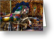 Fairgrounds Greeting Cards - Carousel Beauty Ready To Roll Greeting Card by Bob Christopher