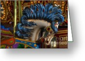 Fairgrounds Greeting Cards - Carousel Beauty Star Of The Show Greeting Card by Bob Christopher