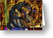 Fairgrounds Greeting Cards - Carousel Beauty Waiting For A Rider Greeting Card by Bob Christopher