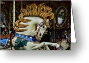 Amusement Ride Greeting Cards - Carousel horse - 4 Greeting Card by Paul Ward