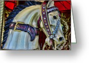 Amusement Ride Greeting Cards - Carousel Horse - 7 Greeting Card by Paul Ward